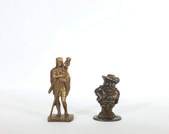 Antique brass figures - Male figurines - Blacksmith figure - Brass men statues.