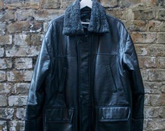 Versace Emporio Leather Jacket Fur Collar