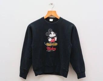 Vintage MICKEY MOUSE Walt Disney Cartoon Animation Black Pullover Crewneck Sweater Sweatshirt