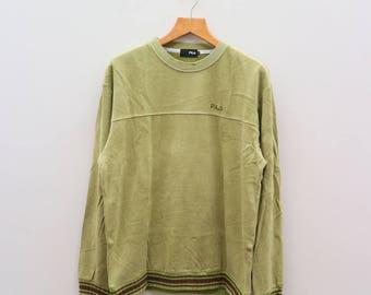 Vintage FILA Sportswear Small Logo Green Sweater Sweatshirt Size XL