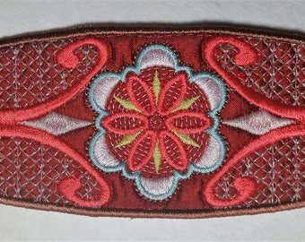 Flowers and Swirls Embroidered Cuff Bracelet