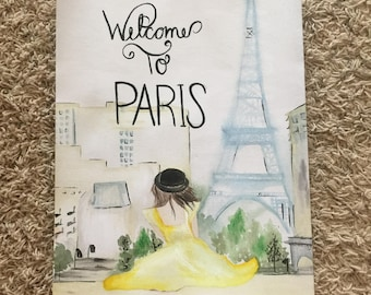 Welcome to Paris watercolor painting