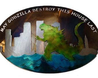 Godzilla metal wall decor
