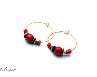 Hoop earrings gold Pearl red marble and bronze ♦ fancy earrings