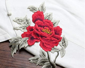 Red Flower Patches, Sew on Patches, Embroidered Appliques