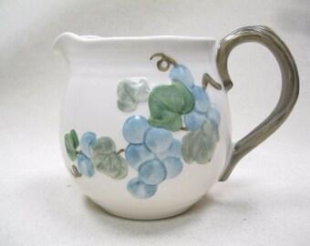 Large Ceramic Stoneware Decorative Beige Pitcher Embossed Grapes Leaves Vine