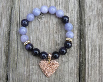 Beautiful Gemstone beaded bracelet with heart pendant/Blue avanturine and agate bracelet/ Agate bracelet/ Aventurine bracelet/