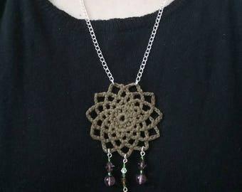 Crochet Mandala/Dreamcatcher necklace