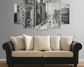 Large, 5 part canvas print of Bustling Biffalo, New York in 1908