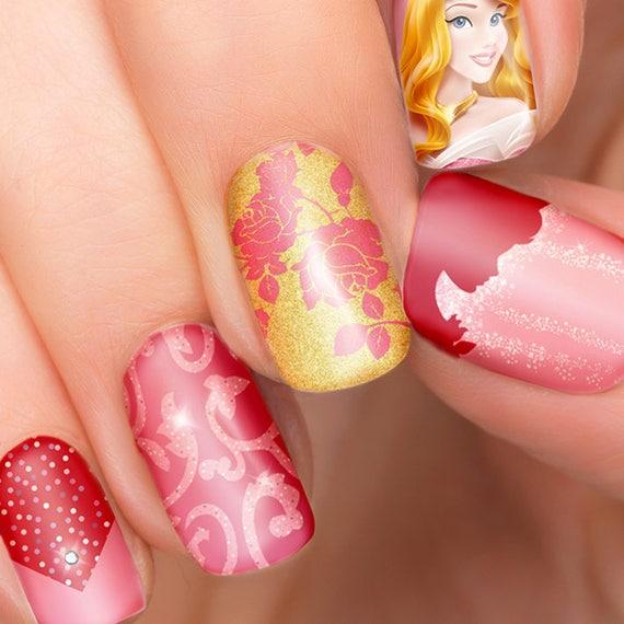 Sleeping Beauty Nails: Sleeping Beauty Disney Nail Transfers Illustrated Nail Art