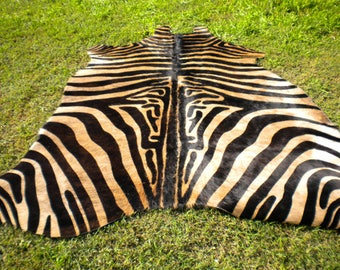 Zebra Cowhide Rug Natural Hair On   UNIQUE !! GORGEOUS !! Black