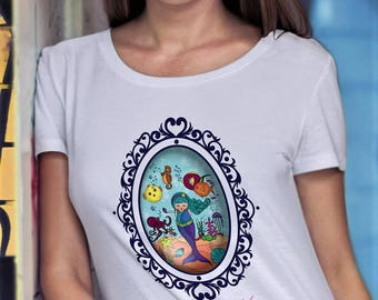T-SHIRT girl - woman - white or pink - MINISHOPPER and BUTTON included - oceana kokoronaif tees