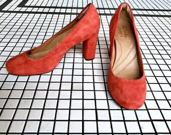 Vintage Orange Suede Clarks Heels