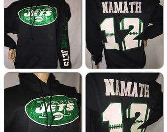 ON SALE Jets Glitter Sweatshirt    New York Jets bling hoody sweatshirts   Jets hoody sweatshirts