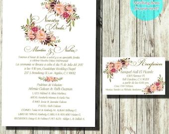 Floral wedding invitation Wedding invitation Printable wedding invites set Wedding invitations set printed Printable invitations Blush