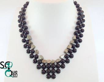 Natural gemstone - Pyrite and Onyx necklace