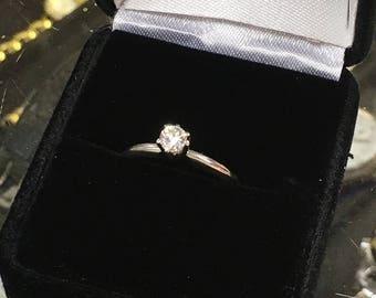 Diamond Solitaire in 14K White Gold Size 7