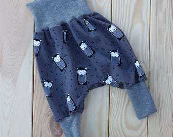 Baby bloomers with bears grey