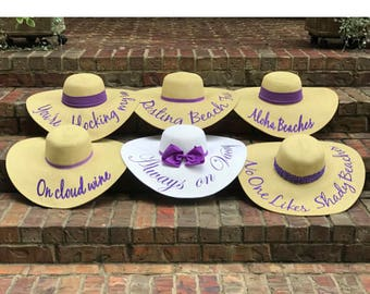 Package of 6 Floppy Sun Hats with Phrases