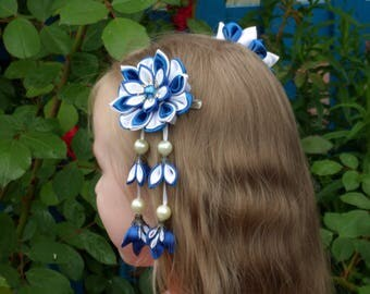 Blue white flowers, fabric flower hair, hair kanzashi, blue hair flower, blue floral pin, girls bobby pin, baby twin, girl birthday gift