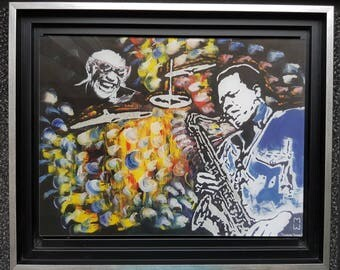 Table jazzmen Morgane Monnet, print on plexiglass, signed by the artist