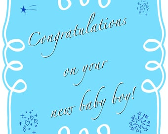 """Individual 140mm Square Blank New Baby Boy Card """"Congratulations on your new baby boy!"""" Add own message"""