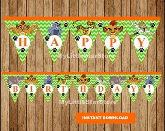 Lion Guard Banner, Printable Lion Guard Triangle Banner, Lion Guard party Banner Instant download