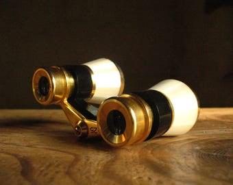 Opera Glasses, mini binoculars, French, art deco 1930s mother of pearl.