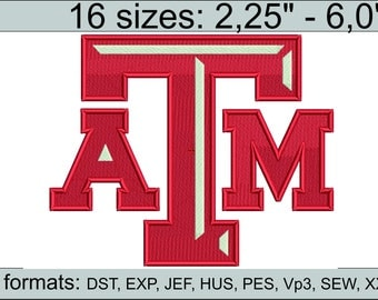 Texas A&M logo embroidery design / embroidery designs / INSTANT download machine embroidery pattern
