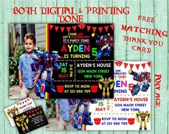 Transformers Birthday Invitations Transformer Photo Birthday Party Transformer Kids Birthday Printable Invitations Transformer Birthday Card