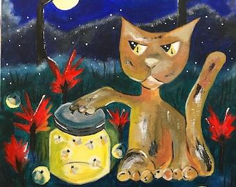 Cat catching fireflies in the moonlight acrylic original art
