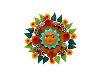"Mexican Sun ""Sol de la Vida 2"" - Mexican Sun made of Clay, Clay work, Pottery"