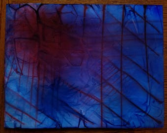 PAINTING: Blue and Red Abstract