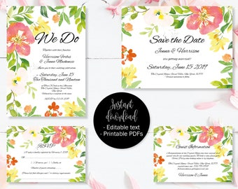Wedding Invitation Template Set, Save the Date, Invite, RSVP, Guest Information, Editable Printable Wedding Templates, Border 8 SETA-8