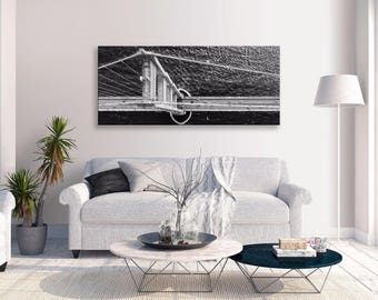 Brooklyn Bridge Birds Eye View Canvas B&w Panorama Wall Art Picture Home Decor