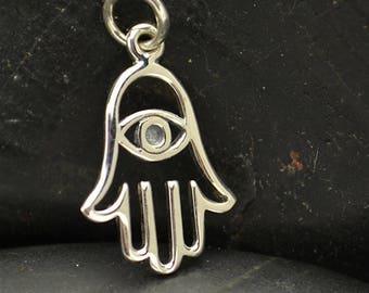 Sterling Silver Hamsa Hand Evil Eye Fatima Miriam Charm Yoga Jewelry Pendant Necklace Spiritual 1193