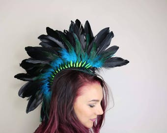 Feather punk mohawk headdress