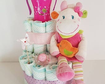 Musical plush diaper cake