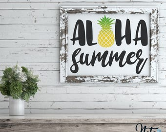 Aloha Summer 10x8 Digital Print, Beach Art, Positive, Wall Art, Aloha, Summer, Pineapple, Typography, inspirational Instant Download, LQ007