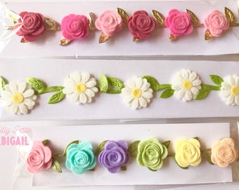 Flower headband Roses and Daisies