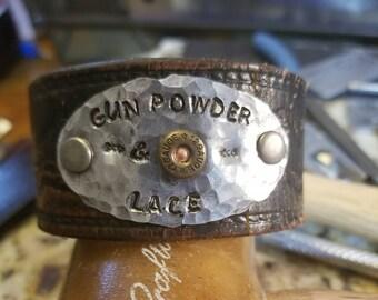 Leather Cuff Bracelets / Gun powder and Lace