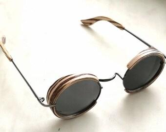 """Steampunk wooden Sunglasses """"Zebrano"""""""