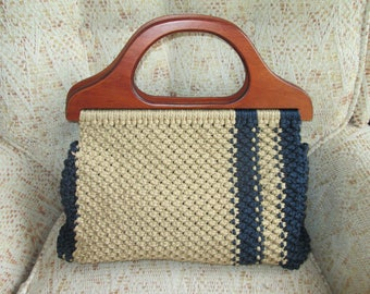 Macrame Handbag    Beige/Navy   Handmade with Wooden Handles  Larger size