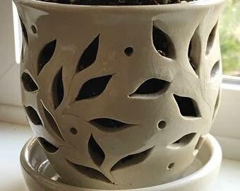 White Crackle Orchid Pot