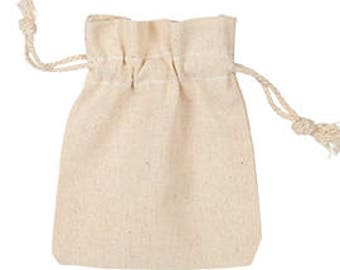 50-Natural Cotton Pouches 3x4 Inch