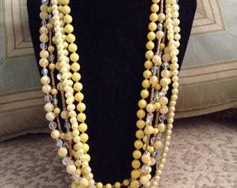 Vintage Multi-strand Yellow and Gold Necklace