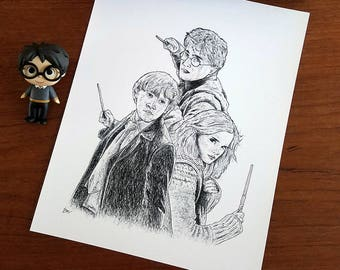 The Golden Trio Harry Potter Hermione Granger Ron Weasley Art Print
