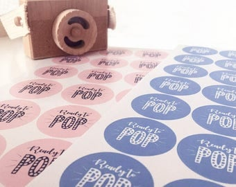 Baby Shower - 70 x Ready To POP Stickers. 35 x Blue and 35 x Pink Circular Stickers A4 Sheet - Perfect for TWINS and Gender Reveal PARTIES!