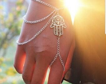 Hamsa Fatima Bracelet ~ Slave Bracelet / Ring
