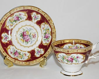 Vintage Royal Albert Teacup and Saucer Lady Hamilton Pattern in Wine Color Very Nice c1945-1950